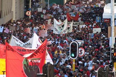 South African workers demonstrate (file photo).
