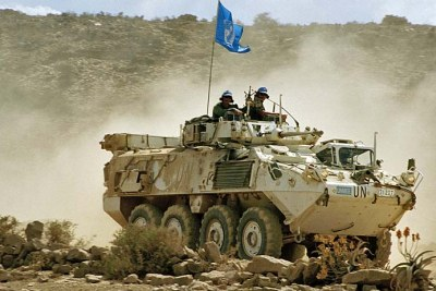 UN peacekeepers patrol the Ethiopian-Eritrean border.