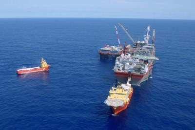 Bonga, Floating Production Storage and Offloading vessel. FPSO, Bonga field offshore Nigeria 2005.
