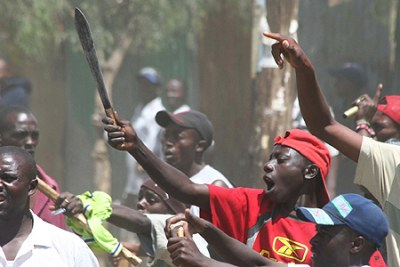 A scene from the violence which swept areas of Kenya after the 2007 general election.
