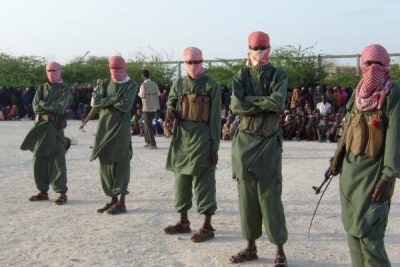 Members of the militant Al-shabab in southern Somalia.