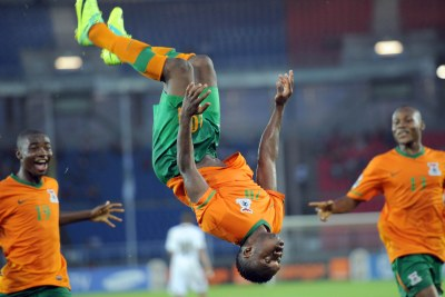 Zambia's Emmanuel Mayuka celebrates a goal.(File Photo)