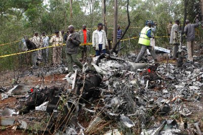 Helicopter crash site at Kibiku forest in Ngong.