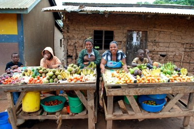 Local women selling fruits and vegetables in the Usambara mountains of Tanzania.