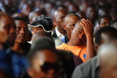 Family and friends at memorial service for the slain miners.
