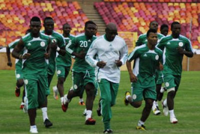 Nigeria's Super Eagles training.