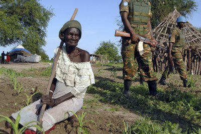 Troops patrol the disputed area of Abyei that lies on the border of Sudan and South Sudan (file photo).