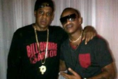 Big Brother Stargame housemate Prezzo with hip-hop superstar Jay-Z.