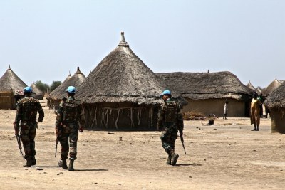 Peacekeepers patrol a South Sudanese village (file photo).