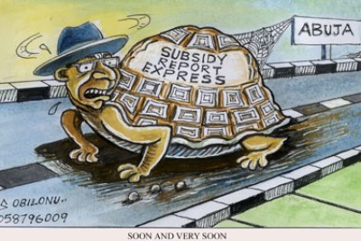 A cartoonist depicts slow progress on resolving the issues surrounding Nigeria's subsidy on fuel.