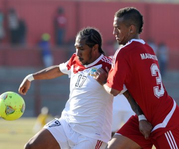 Mauritius and Seychelles contesting the Cosafa Cup At The 2013 Tournament in Zambia