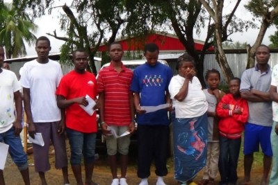 Ebola survivors posed for a photo upon being released from an isolation facility in Monrovia.