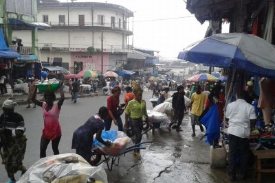 Traders in Monrovia's largest market district of Waterside.