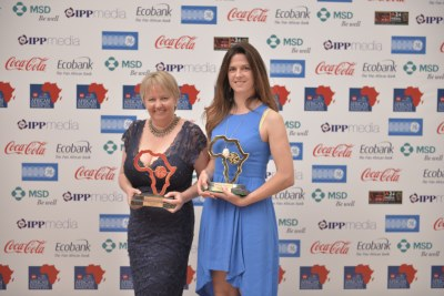 "Joy Summers and Susan Comrie of Carte Blanche received the GE Energy and Infrastructure Award at the CNN MultiChoice African Journalist Awards 2014 for their investigative piece, ""Game of Geysers part 1 and 2."""