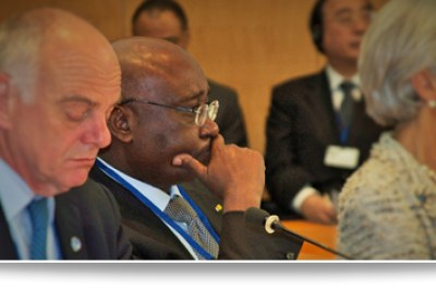 IMF/WB 2015 Spring Meetings: EU President, President Donald Kaberuka from AfDB and Christine Lagarde, head of the IMF.
