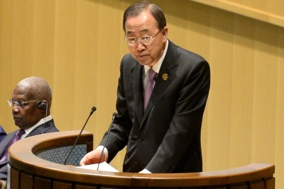UN Chief Ban Ki-moon at the Addis Ababa conference discussing how to finance development.