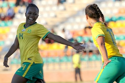 Banyana Banyana players celebrate a goal against Botswana