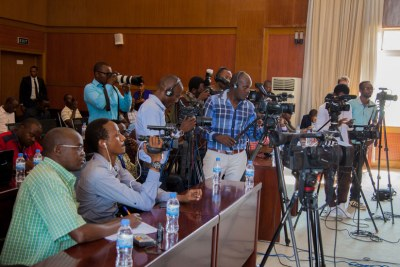 Journalists cover a press conference at Foreign Affairs ministry in Kigali (file photo).