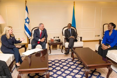 President Kagame and First Lady Jeannette Kagame host Israeli Prime Minister Benjamin Netanyahu and his wife Sara at Village Urugwiro in Kigali.