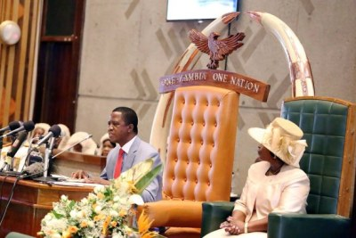 President Edgar Lungu in parliament (file photo).