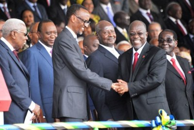 President Paul Kagame among other African leaders attending the swearing in ceremony of Tanzanian president John Magufuli.
