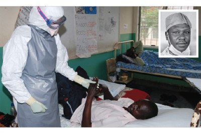 A medical officer attends to a suspected ebola patient. Dr Mathew Lukwiya (inset) died of ebola when the disease first broke out in 2000.