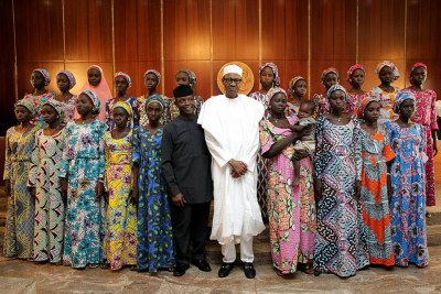 President Buhari with the freed Chibok girls.