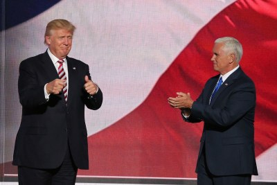 Trump and his running mate, Indiana Governor Mike Pence, July 2016