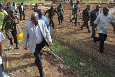 President John Magufuli inspects the site of the proposed construction of Kabyaile Health Centre in Misenyi District, Kagera Region.
