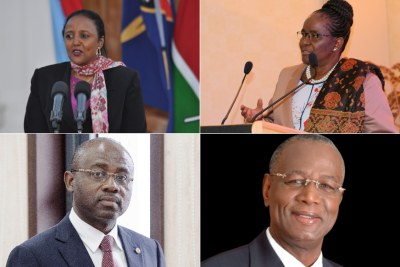 The candidates for the position of Chair of the African Union Commission: Kenya's Amina Mohamed, Botswana's Pelonomi Venson-Moitoi, Agapito Mba Mokuy of Equatorial Guinea and Abdoulaye Bathily of Senegal.