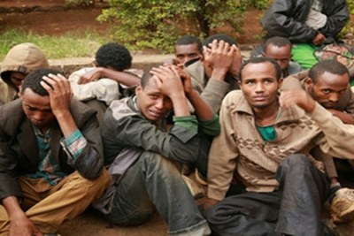 Detained Ethiopian illegal immigrants (file photo).