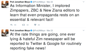 Moyo Blasts Zimbabwean Govt Newspaper Over 'Fake News'