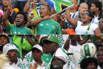 Bafana and Super Eagles fans (file photo).