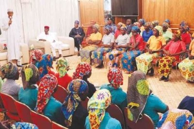 82 Chibok girls addressed by President Muhammadu Buhari at his residence