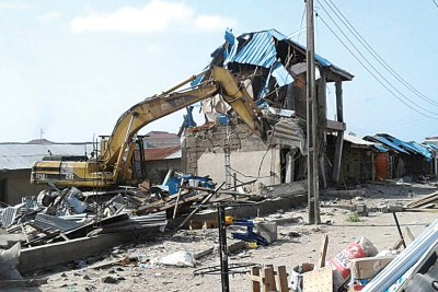 Shops destroyed in Lekki in Lagos State.