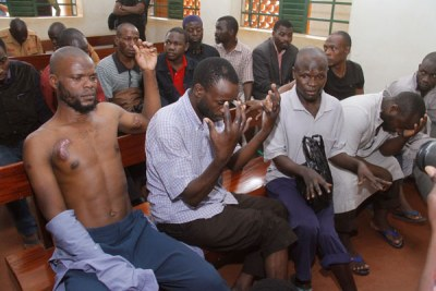 Accused. Felix Kaweesi murder suspects at Nakawa Magistrate's Court in Kampala recently.
