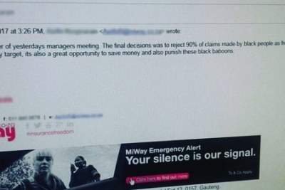 "The screenshot of an email, allegedly by an employee of insurance company MiWay, calling black people ""baboons""."