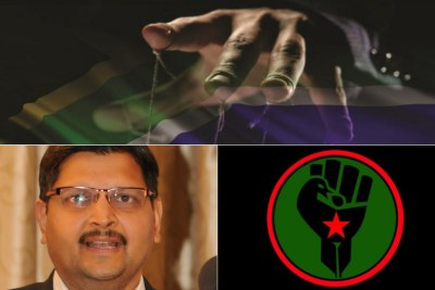 Top: Title image of former public protector Thil Madonsela's state capture report. Bottom-left: Atul Gupta. Bottom-right: Logo of Black First Land First.