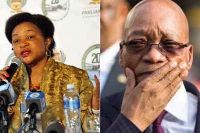 Left: Speaker of Parliament Baleka Mbete. Right: President Jacob Zuma.