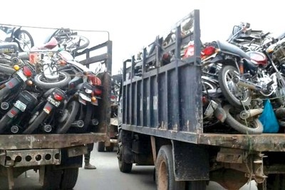 Impounded motorcycles in Lagos