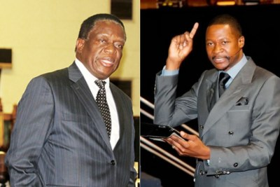From left, Vice President Emmerson Mnangagwa and Prophet Emmanuel Makandiwa (file photo).