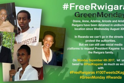 A campaign poster inviting people to help secure Diane Rwigara's freedom - #GreenMonday #100tweets2Kagame #FreeRwigaras #Rwanda #Rwot