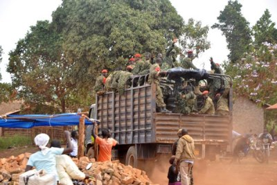 Military police officers patrol mining sites in Mubende District after evicting artisanal miners recently.