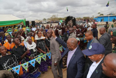 President John Magufuli joins officials to cut a ribbon to officially launch a 26km tarmac road linking Kilimanjaro International Airport and Mererani in Manyara Region.