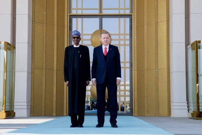 President Buhari with President Recep Tayyip Erdogan of Turkey at the Presidential Palace in Ankara.