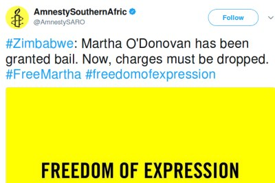 Martha O'Donovan granted bail by the High Court of Zimbabwe.