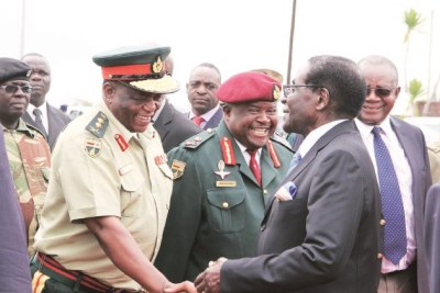 From left, General Constantine Chiwenga, Major-General Douglas Nyikayaramba and President Robert Mugabe (file photo).