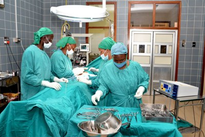 Doctors in theatre at Nsambya hospital recently.