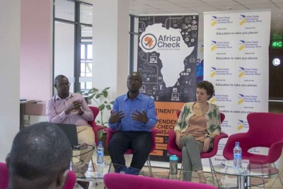 From Left: Vincent Ng'ethe (deputy editor at Africa Check) Eric Mugendi (managing editor at Pesa Check) and Dr Maria Canudo (assistant professor of Journalism and Mass Communication at USIU-Africa) during the media round table on 'fake news' at USIU-Africa.