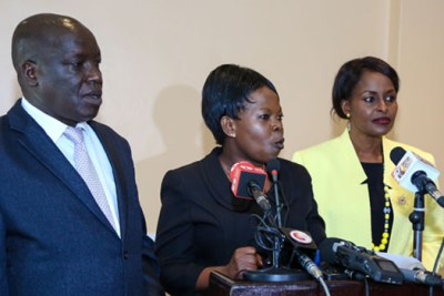 Vice-Chairperson Consolata Nkatha, Commissioners Paul Kurgat and Margaret Mwachanya announcing their exit from IEBC.